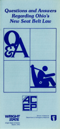 Ohio ACEP and Wright State's 1986 brochure on Ohio's new seat belt law