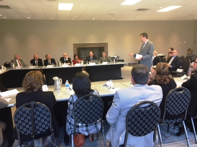 Dr. Ryan Squier speaks to panelists at a HOPES Task Force meeting in Columbus